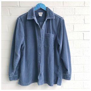 L.L. Bean Soft Blue Corduroy Button Up Shirt